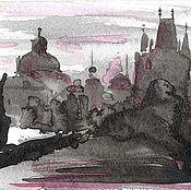 """Картины и панно ручной работы. Ярмарка Мастеров - ручная работа Диптих """"Сказки старой Праги"""", картина, авторская графика, тушь. Handmade."""