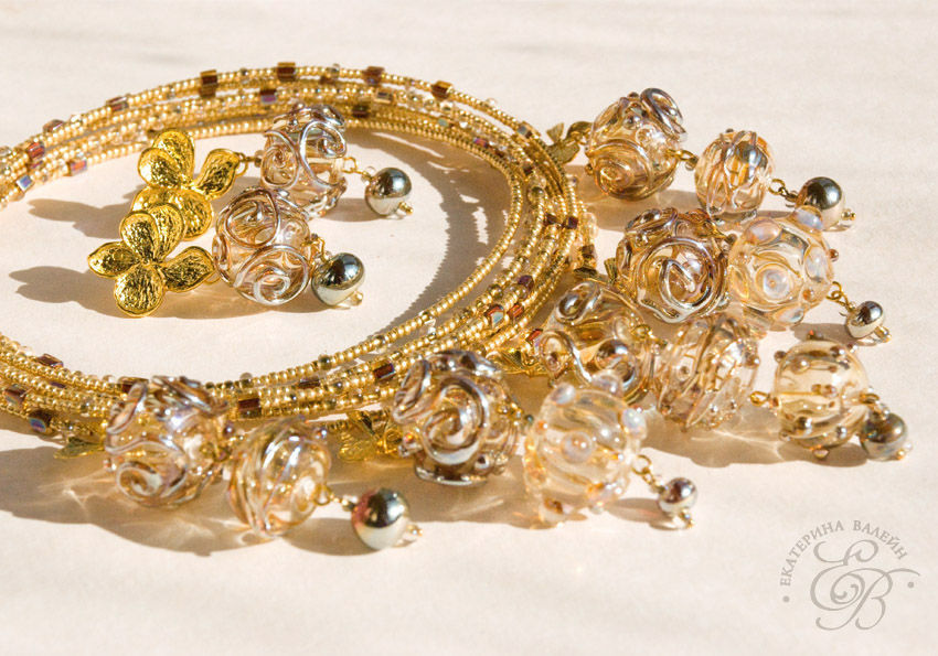 'Golden rain': necklace and earrings, Jewelry Sets, St. Petersburg,  Фото №1