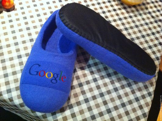 """Обувь ручной работы. Ярмарка Мастеров - ручная работа. Купить Тапочки """"Google"""". Handmade. Комбинированный, тапочки домашние, тапочки из войлока"""