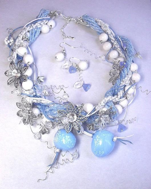 Jewelry Sets handmade. Livemaster - handmade. Buy Cool Creek. Kit..Necklace, more lampwork beads (lampwork)