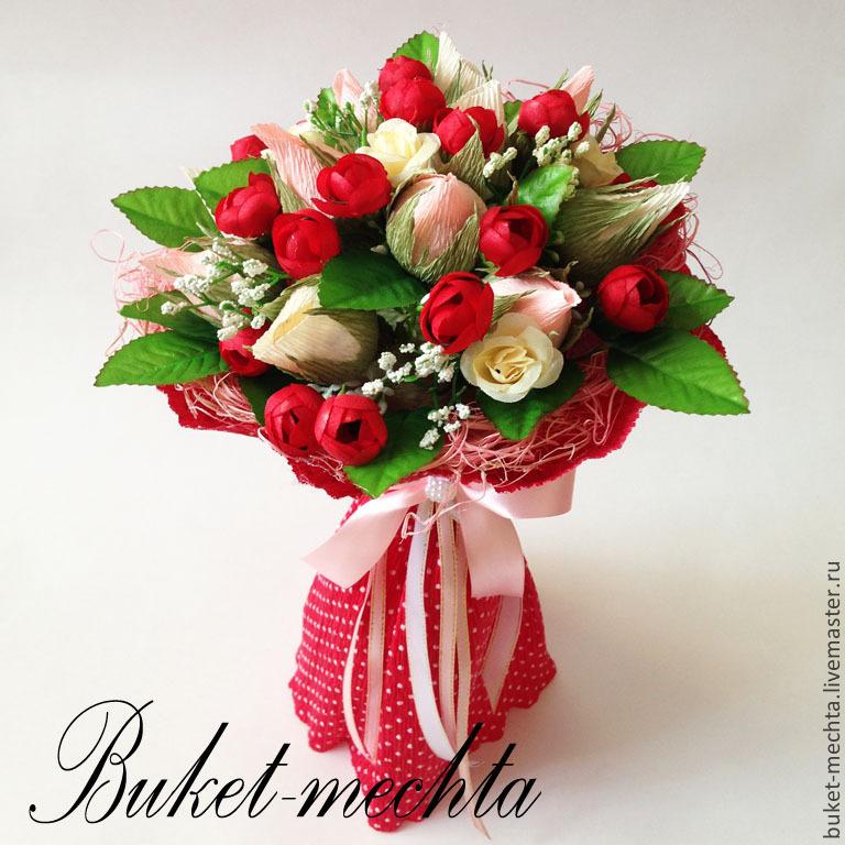 Корзина из бутонов роз с конфетами мастер класс