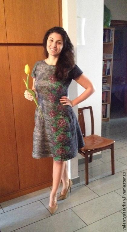 """Платья ручной работы. Ярмарка Мастеров - ручная работа. Купить Валяное платье"""" Цветы Индии"""".. Handmade. Разноцветный, шерсть меринос"""