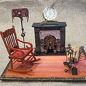 """Часы каминные ручной работы. Ярмарка Мастеров - ручная работа Настольные часы """" Камин"""". Handmade."""