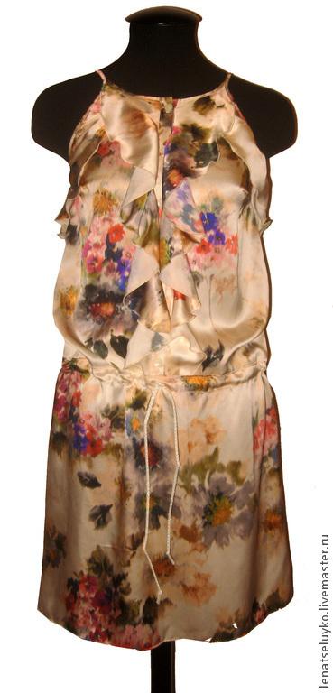 Платья ручной работы. Ярмарка Мастеров - ручная работа. Купить Шелковое платье на бретелях. Handmade. Цветочный, дизайнерская одежда