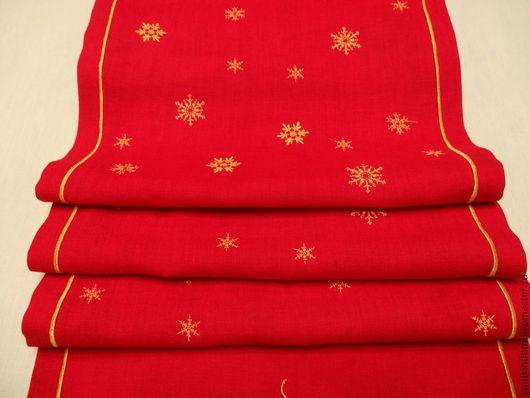Новогодняя Дорожка с Вышивкой `Снежный лес` `Шпулькин дом` мастерская вышивка.