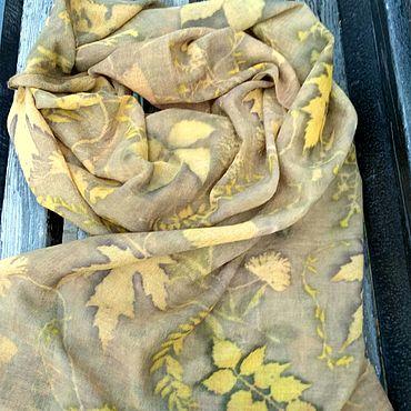 Аксессуары ручной работы. Ярмарка Мастеров - ручная работа Шарф Кружит листьев хоровод экопринт, тонкая шерсть. Handmade.