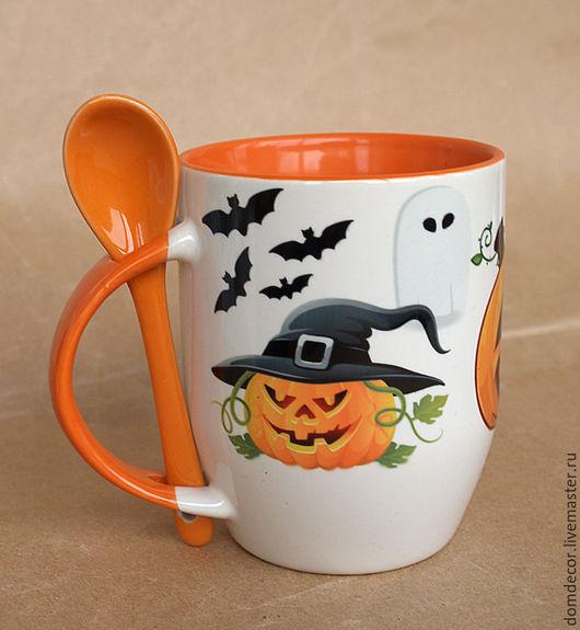 """Подарки на Хэллоуин ручной работы. Ярмарка Мастеров - ручная работа. Купить Чашка с ложкой """"Happy Halloween-2"""". Handmade. Рыжий"""
