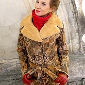 Одежда handmade. Livemaster - original item Suede coat with lace pattern, Designer coat faux fur, Knee length coat. Handmade.