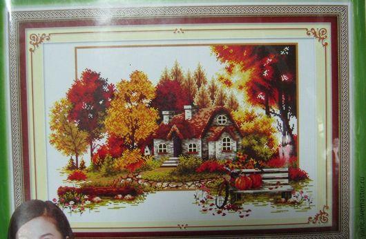 Набор для вышивки крестом. Осенний пейзаж с домиком, размер 77 х 53 см.
