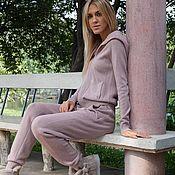 Одежда ручной работы. Ярмарка Мастеров - ручная работа Кашемировый костюм на молнии с капюшоном Розовая пудра. Handmade.
