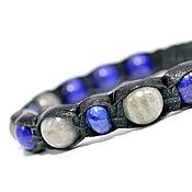 Украшения handmade. Livemaster - original item Shamballa bracelet with labradorite and lapis leather. Handmade.