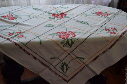 Текстиль, ковры ручной работы. Ярмарка Мастеров - ручная работа. Купить Скатерть вышитая из бабушкиного сундука. Handmade. Вышитая скатерть