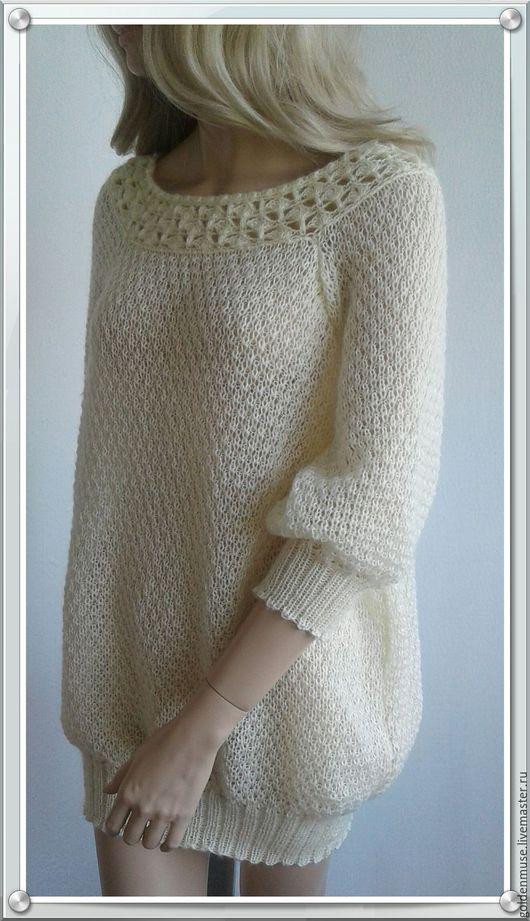 Кофты и свитера ручной работы. Ярмарка Мастеров - ручная работа. Купить Джемпер ажурный молочный длинный. Handmade. Белый