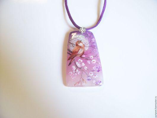 Кулон `Серенада для любимой. Соловушка` миниатюрная роспись по камню.