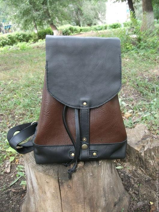 Рюкзаки ручной работы. Ярмарка Мастеров - ручная работа. Купить Рюкзак  из кожи Savanna Espresso 2 Черно-коричневый. Handmade.
