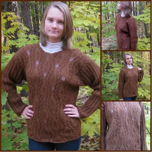 Кофты и свитера ручной работы. Ярмарка Мастеров - ручная работа. Купить Джемпер  женский вязаный  (пуловер) из шерсть Шоколад. Handmade.