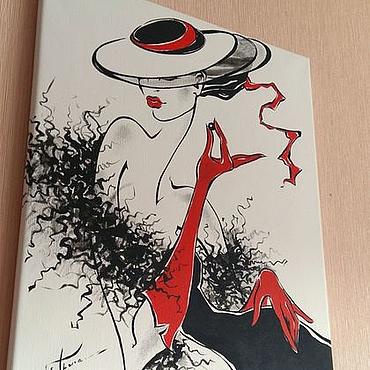 Картины и панно ручной работы. Ярмарка Мастеров - ручная работа Графика. На холсте.Дама в шляпе. Черная жемчужина. 40х50см. Handmade.