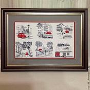 """Картины и панно ручной работы. Ярмарка Мастеров - ручная работа Вышитая картина""""Красная машинка"""". Handmade."""