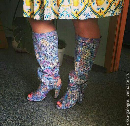 Обувь ручной работы. Ярмарка Мастеров - ручная работа. Купить Летние сапоги. Handmade. Комбинированный, летние сапоги, натуральная кожа