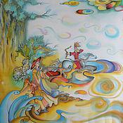 """Картины и панно ручной работы. Ярмарка Мастеров - ручная работа Батик """"Корейские сказки"""". Handmade."""