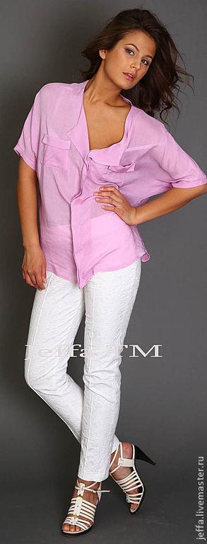 Блузки ручной работы. Ярмарка Мастеров - ручная работа. Купить Рубашка из штапеля арт.1225. Handmade. Розовый, офисная мода