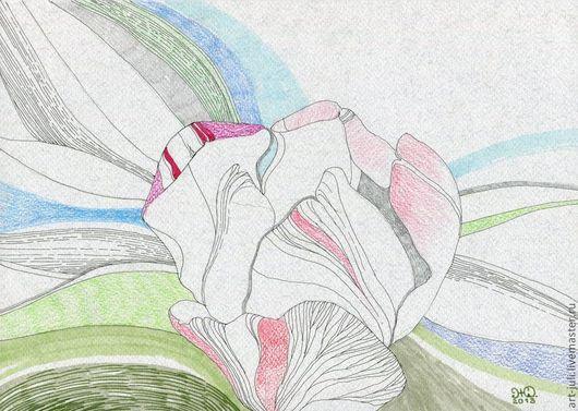 """Картины цветов ручной работы. Ярмарка Мастеров - ручная работа. Купить рисунок """"Розовый тюльпан"""". Handmade. Тюльпан, зеленый"""