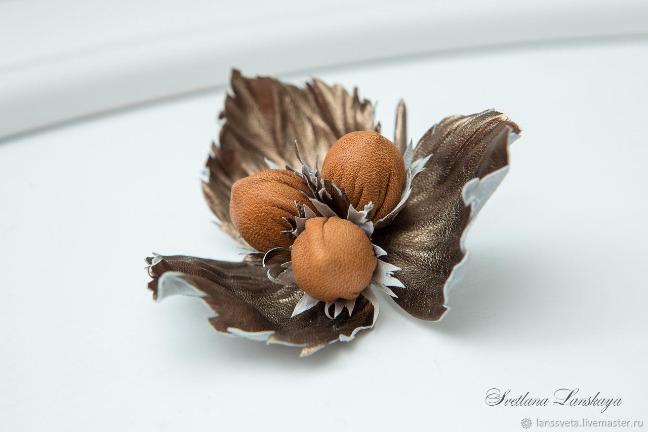 Брошь из кожи Три орешка для золушки. Украшение из кожи, Броши, Бобруйск, Фото №1
