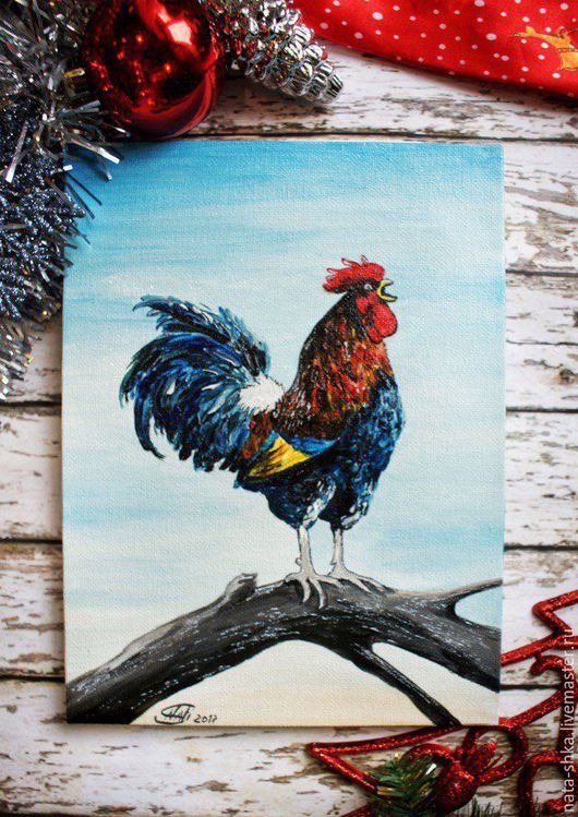 """Животные ручной работы. Ярмарка Мастеров - ручная работа. Купить Картина """"Голосистый рассвет"""" (авторская). Handmade. Петух, новый год 2017"""