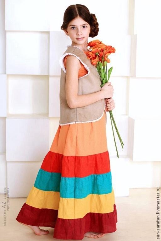 Одежда для девочек, ручной работы. Ярмарка Мастеров - ручная работа. Купить Сарафан льняной. Handmade. Лен, льняная одежда