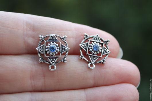 Для украшений ручной работы. Ярмарка Мастеров - ручная работа. Купить Пуссеты для серег с голубыми стразами, цвет серебро. Handmade.
