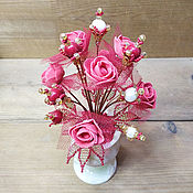 Цветы и флористика handmade. Livemaster - original item composition: Flowers made of pearls and coral