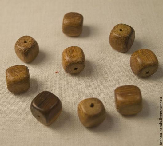 Для украшений ручной работы. Ярмарка Мастеров - ручная работа. Купить Бусины кубики коричневые из дерева робле (Филиппины), 10 мм. Handmade.