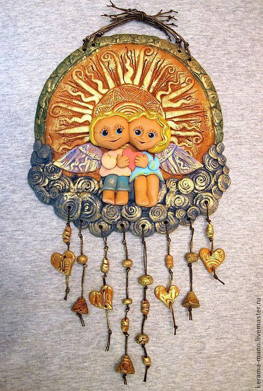 """Символизм ручной работы. Ярмарка Мастеров - ручная работа. Купить """"Заоблачное счастье""""- Панно. Handmade. Золотой, подарок на свадьбу, керамика"""