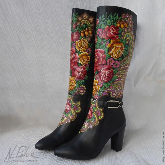 """Обувь ручной работы. Ярмарка Мастеров - ручная работа. Купить Роспись по обуви. Сапоги """"Незнакомка"""". Handmade. Комбинированный, сапоги"""
