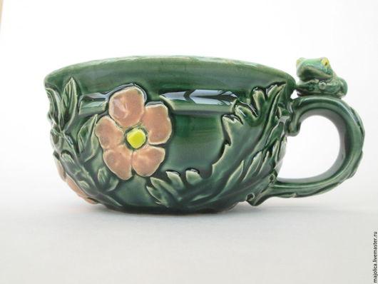 Кружки и чашки ручной работы. Ярмарка Мастеров - ручная работа. Купить Керамическая чашка с растительным рельефом. Handmade. Керамическая чашка