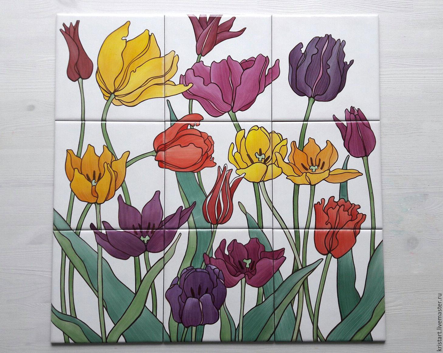 Керамическая плитка Панно Цветы Тюльпаны, Картины, Москва, Фото №1