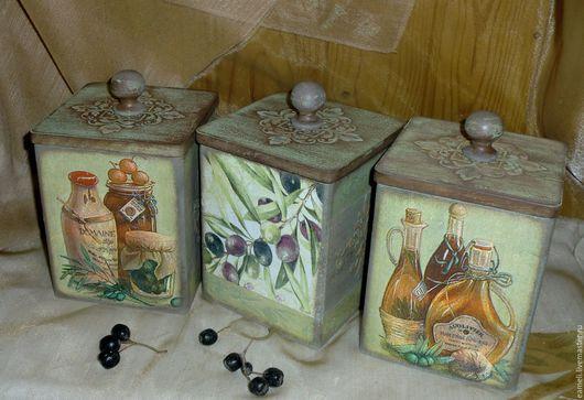 """Кухня ручной работы. Ярмарка Мастеров - ручная работа. Купить """"Оливковый""""набор банок для сыпучих продуктов. Handmade. Оливковый, банки для продуктов"""