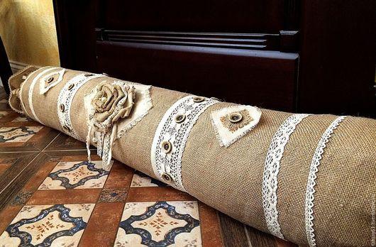 Текстиль, ковры ручной работы. Ярмарка Мастеров - ручная работа. Купить Подушка-валик из мешковины от сквозняков Рустик. Handmade. Бежевый