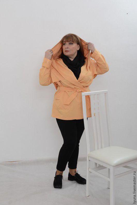 Большие размеры ручной работы. Ярмарка Мастеров - ручная работа. Купить Куртка-плащ. Handmade. Желтый, пыльник, плащевка из полиэстера