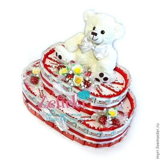 Букеты ручной работы. Ярмарка Мастеров - ручная работа. Купить ТОРТ ИЗ КИНДЕРОВ купить подарок ребёнку подарок девушке киндер сюрприз. Handmade.