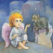 Открытки ручной работы. Ярмарка Мастеров - ручная работа Открытка Ангел кот и вдохновение на крыше. Handmade.