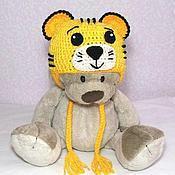 """Работы для детей, ручной работы. Ярмарка Мастеров - ручная работа Шапочка """"Тигр"""" (детская шапка тигра зимняя теплая вязаная желтый). Handmade."""