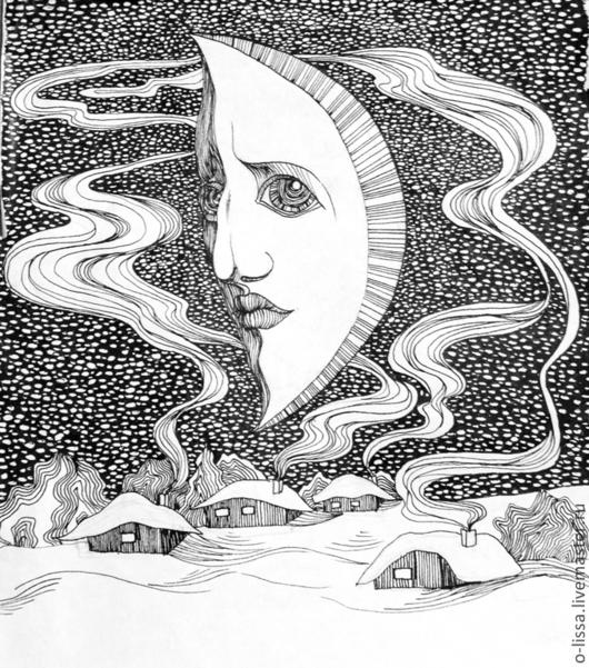 Фантазийные сюжеты ручной работы. Ярмарка Мастеров - ручная работа. Купить Луна. Handmade. Чёрно-белый, Снег, сказочный, дым
