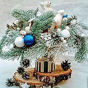 """Подарки к праздникам ручной работы. Ярмарка Мастеров - ручная работа Новогодний букет """"Мишки на севере"""".. Handmade."""