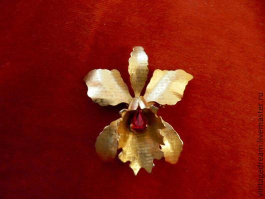 """Винтажные украшения. Ярмарка Мастеров - ручная работа. Купить Винтажная брошь """" Золотая орхидея"""". Handmade. Винтажные украшения, подарок"""