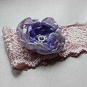 Свадебный салон ручной работы. Ярмарка Мастеров - ручная работа Свадебная подвязка невесты розовая сиреневая ручной работы. Handmade.