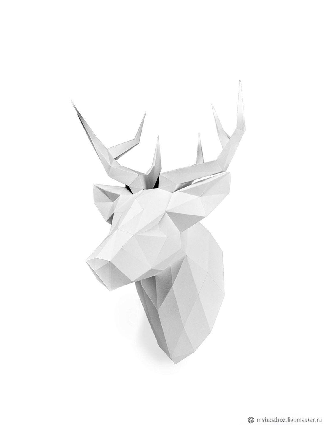 Interior Design handmade. Livemaster - handmade. Buy DEER PETROVICH white matte.Gift, deer Christmas, deer head, polygon