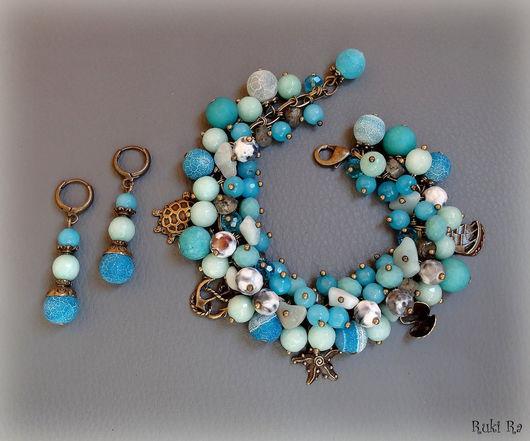 Ruki Ra / Комплект украшений `Голубое море` браслет и серьги