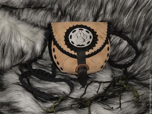 """Женские сумки ручной работы. Ярмарка Мастеров - ручная работа. Купить Кожаная сумка """"Волчий след"""". Handmade. Бежевый"""