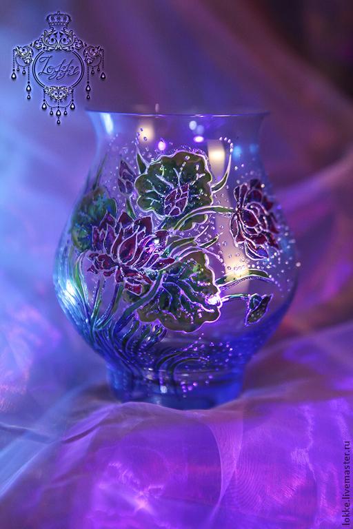 Роспись вазы витражной росписью